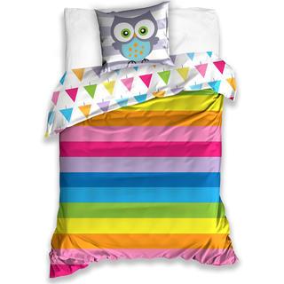 Bavlnené posteľné obliečky Sova, dúhové