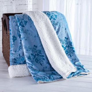 Barančeková deka s embosovaným vzorom modrá 140 x 200 cm