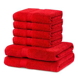 Sada froté uterákov a osušiek MARINA červená 6 ks