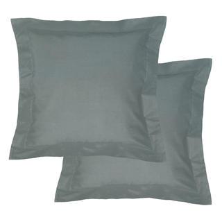 Bavlnené obliečky na vankúšiky s lemom, tmavošedé 2 ks