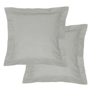 Bavlnené obliečky na vankúšiky s lemom, svetlošedé 2 ks