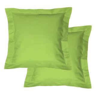 Bavlnené obliečky na vankúšiky s lemom, zelené 2 ks