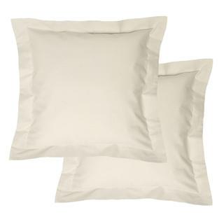 Bavlnené obliečky na vankúšiky s lemom, krémové 2 ks