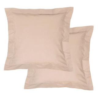 Bavlnené obliečky na vankúšiky s lemom, béžové 2 ks