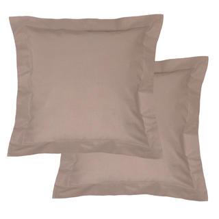Bavlnené obliečky na vankúšiky s lemom, hnedé 2 ks