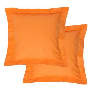 Bavlnené obliečky na vankúšiky s lemom, oranžové 2 ks