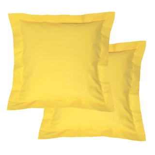 Bavlnené obliečky na vankúšiky s lemom, žlté 2 ks