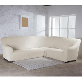 Bielastické poťahy BUKLÉ smotanová rohová sedačka (š. 350 - 530 cm)