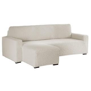 Bielastické poťahy BUKLÉ smotanová sedačka s otomanom vľavo (š. 170 - 200 cm)
