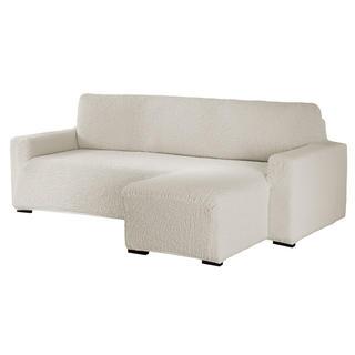 Bielastické poťahy BUKLÉ smotanová sedačka s otomanom vpravo (š. 170 - 200 cm)