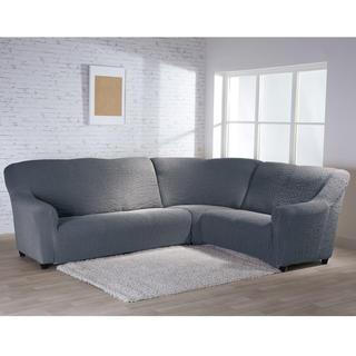 Bielastické poťahy BUKLÉ šedá rohová sedačka (š. 350 - 530 cm)