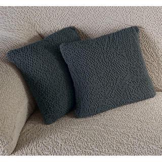 Bielastické poťahy BUKLÉ šedá, obliečky na vankúšiky 2 ks (40 x 40 cm)