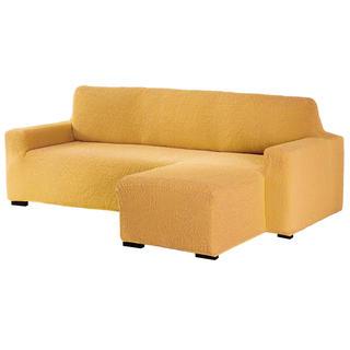 Bielastické poťahy BUKLÉ horčicová sedačka s otomanom vpravo (š. 170 - 200 cm)