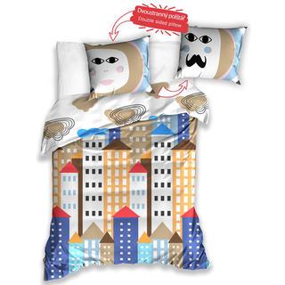 Detské bavlnené posteľné obliečky Mesto