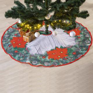 Vianočný guľatý obrus pod stromček POINSETTIA 120 cm