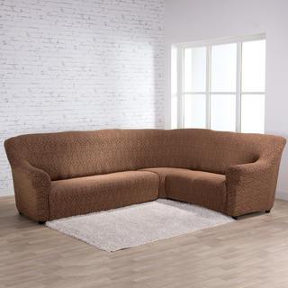 Strečové poťahy CASTELO hnedočierne, rohová sedačka (š. 300 - 470 cm)