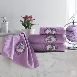 Sada froté uterákov s výšivkou fialová 4 ks