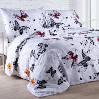 Krepová posteľná bielizeň BUTTERFLY Biela, predĺžená dĺžka