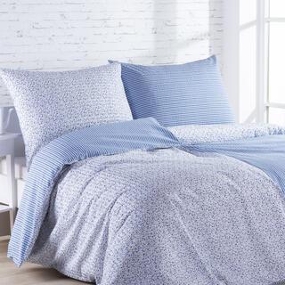 Krepové posteľné obliečky ŽANETA svetlomodré, predĺžená dĺžka