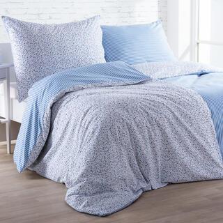 Bavlnené posteľné obliečky ŽANETA svetlomodré, predĺžená dĺžka