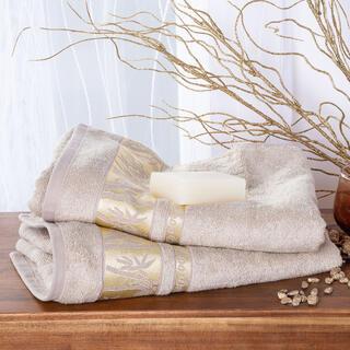 Sada bambusových uterákov so zlatou bordúrou ORIEŠKOVÉ 2 ks 50 x 100 cm