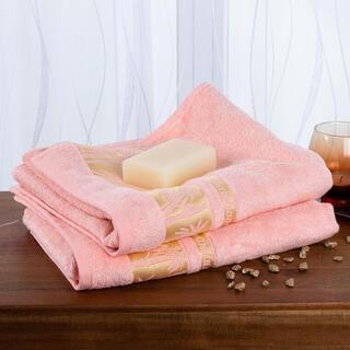 Sada bambusových uterákov so zlatou bordúrou LOSOSOVÉ 2 ks 50 x 100 cm