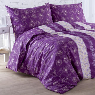 Bavlnené posteľné obliečky KAYLA fialové, predĺžená dĺžka