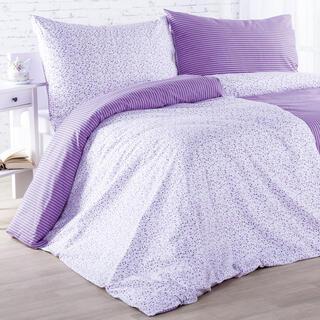 Bavlnené posteľné obliečky ŽANETA fialové, predĺžená dĺžka