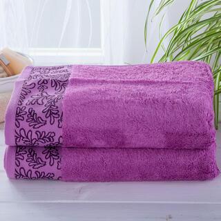 Sada bambusových uterákov s bordúrou FUCHSIOVÉ 2 ks
