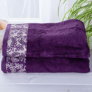 Sada bambusových uterákov s bordúrou TMAVOFIALOVÉ 2 ks