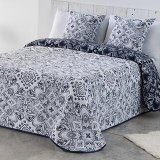 Prikrývka cez posteľ INES modro-biela, jednolôžko