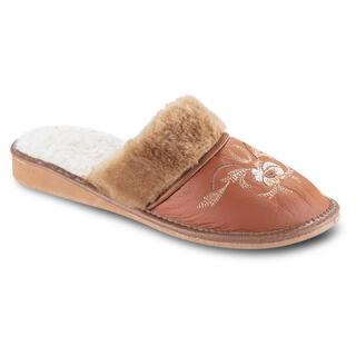 Dámske papuče s výšivkou karamelové