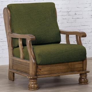 Super strečové poťahy NIAGARA zelená, kreslo s drevenými rúčkami (š. 50 - 80 cm)