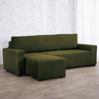 Super strečové poťahy NIAGARA zelená, sedačka s otomanom vľavo (š. 210 - 320 cm)
