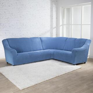 Super strečové poťahy NIAGARA modrá rohová sedačka (š. 340 - 540 cm)