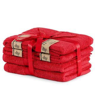 Sada bambusových uterákov a osušiek BAMBY červená 6 ks