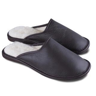 Pánske papuče pre širokú nohu čiernohnedé