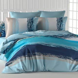 Bavlnené posteľné obliečky THICK LINE modré, predĺžená dĺžka