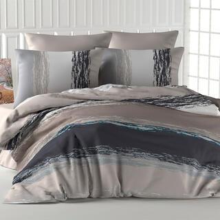 Bavlnené posteľné obliečky THICK LINE hnedé, francúzska posteľ