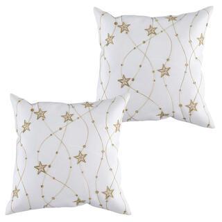 Sada 2 ks obliečok na vankúšiky biele s výšivkou Zlaté hviezdy 40 x 40 cm