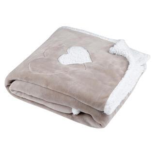 Barančeková deka COCOON srdce béžová 130 x 160 cm