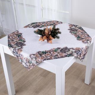 Vianočný stredový obrus ZLATÉ ŠIŠKY 85 x 85 cm