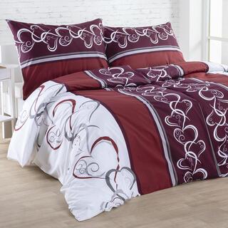 Bavlnené posteľné obliečky SRDCE červenohnedé