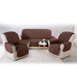 Prikrývky na sedaciu súpravu s opierkami béžová/hnedá