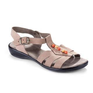 Dámske kožené sandále s korálkami