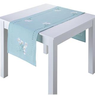 Behúň na stôl s výšivkou BIELE KVETY 40 x 160 cm