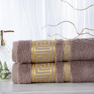 Sada 2 kusov bambusových uterákov ROMA svetlohnedá 50 x 100 cm