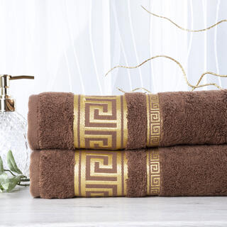 Sada 2 kusov bambusových uterákov ROMA tmavohnedá 50 x 100 cm