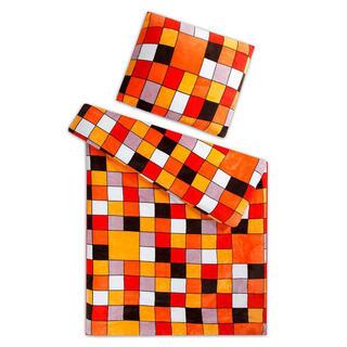 Posteľné obliečky z mikroflanelu KOCKA oranžová