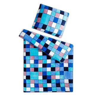 Posteľné obliečky z mikroflanelu KOCKA modrá